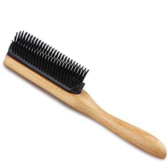 Perie coafat frizerie/coafor 9 file din lemn - Negru