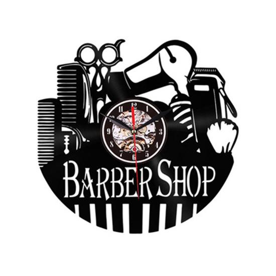 Ceas de perete Barber shop / Frizerie - Negru